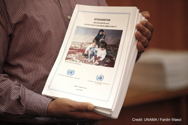 KABUL, 25 July 2016 - The United Nations Secretary-General's Special Representative for Afghanistan and head of UNAMA Mr. Tadamichi Yamamoto, and UNAMA Human Rights Director Danielle Bell release the UNAMA Midyear Report 2016 Protection of Civilians in Armed Conflict Report Launcht at a press conference in Kabul. The number of civilian casualties in Afghanistan during 2016 are the highest recorded, the UN said today on the release of its 2016 Annual Report on Protection on Civilian in Armed Conflict. UNAMA launches new report: Record level of civilian casualties sustained in first half of 2016 Photo by UNAMA / Fardin Waezi.