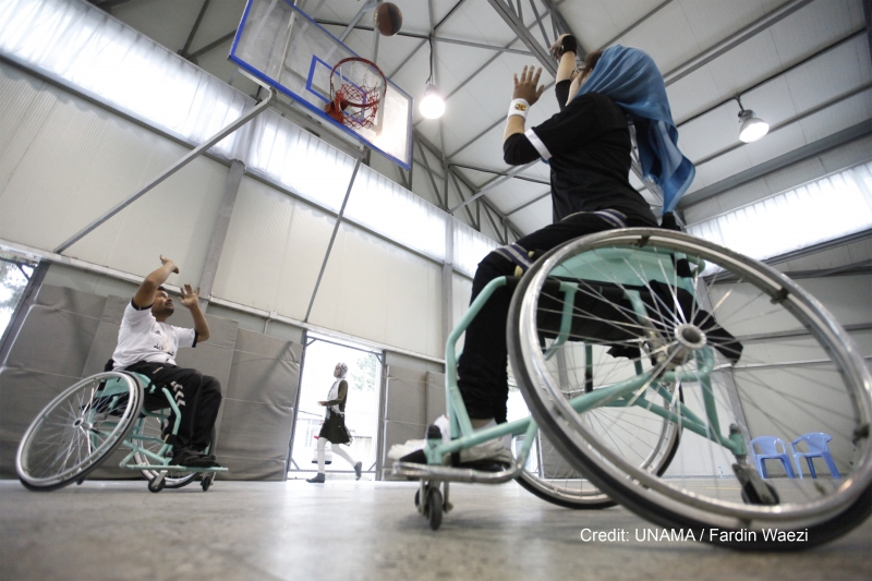 KABUL, 15 September 2016 - A basketball tournament in Kabul, showing that being in a wheelchair is no barrier to participating in sport and getting exercise. The 2015 event was organized by the ICRC. Photo UNAMA / Fardin Waezi.