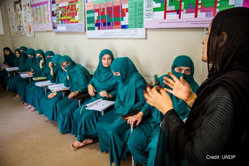 Nursing Programme for Nuristani Women An instructor lectures on how to prevent throat and lung infections to young nursing students at a UNDP/Global Fund-supported nursing school in Jalalabad.