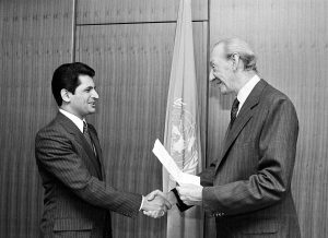 H.E. Mr. Farid Zarif with Secretary General Kurt Waldheim (02 November, 1981)