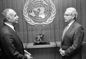 H.E. Mr. Noor Ahmed Noor with Secretary General Dag Hammarskjold (10 August, 1989)