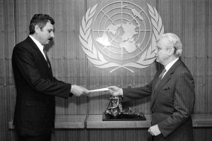 H.E. Mr. Khodaidad Basharmal with Secretary General Javier Perez de Cuellar (25 June, 1991)