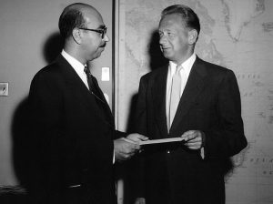 H.E. Mr. Abdul Hamid Aziz with Secretary General Dag Hammarskjold (1950)