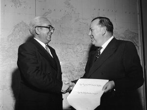 H.E. Mr. Mohammed Kabir Louddin with Secretary General Trygve Halvdan Lie (1949)
